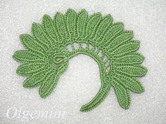 Fiddle Head Fern Leaf motif, Irish crochet, Irish crochet lace, Irlandes