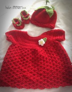 Crochet strawberry dress, hat and shoes 6-12  months £22.00