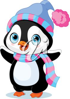 iCLIPART - Royalty Free Clipart Image of a Penguin in a Scarf and Hat