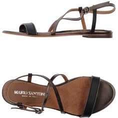 MARIO SANTONI Sandals (110 AUD) ❤ liked on Polyvore featuring shoes, sandals, black, black leather sandals, buckle sandals, black sandals, leather ankle strap sandals and black ankle strap flats