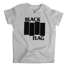 BLACK FLAG BARS AND LOGO TODDLER T-SHIRT WHITE