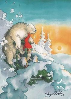 Inge Look....good night to this chilly night and pleasant dreams to you :-) kabout en, gnome, ing löök, art, illustrationsinga, elv, christma .