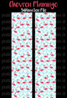 Chevron Flamingos Sublimation Cheer Bow Strips Download by PuttaBowOnIt on Etsy