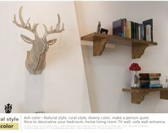 Umelecký drevený 3D obraz s hlavou jeleňa v 9 farbách Diy Wooden Wall, Wooden Walls, Wood Wall Art, Wall Art Decor, Living Tv, Home And Living, Ornament Crafts, Reindeer, Floating Shelves