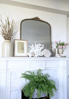 Project Design: How To Style Your Spring Mantel Two Ways - Classic Casual Home Mirror Over Fireplace, Fireplace Mantles, Mantels, Mantle Art, Decorate Mantle, Fireplace Makeovers, Stone Fireplaces, Fireplace Ideas, Mantle Styling
