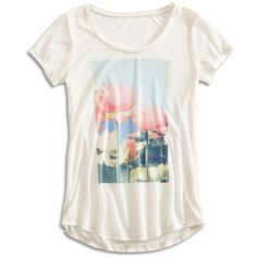 Lucky Brand Lotus Tee ($40) ❤ liked on Polyvore featuring tops, t-shirts, floral t shirt, lucky brand t shirts, long short sleeve t shirts, white short sleeve t shirt and short sleeve t shirt