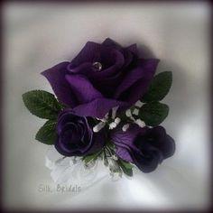 Wrist Corsage Purple Roses Silk