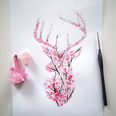 I Watercolor Cherry Blossom Animals (Bored Panda) Nature inspires a lot of my artwork and it has res Kunst Tattoos, Body Art Tattoos, Cool Tattoos, Tatoos, Tree Tattoos, Ink Tattoos, Hart Tattoo, Hirsch Tattoo, Geniale Tattoos