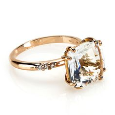 Moon Light Collection by Alfieri, Rock Crystal and Diamond Ring, in 18kt Rose Gold