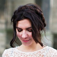 13-messy-brunette-milkmaid-braid-updo
