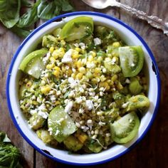 Delicious Potato + Corn Salad with Basil Dijon dressing, Mung Sprouts, and Feta