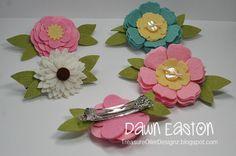 Felt Flower Barrettes girl hair, crafti, pretti hairbow, clip idea, felt paper crafts, hair clip, beauti barrett, flower barrett, felt flowers
