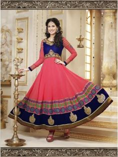Pink And Blue Georgette Designer Anarkali Suit  Collection at skbmart.com. BUY PARTY WEAR ANARKALI CHURIDAR SUITS, Women's Salwar kameez - Indian Women Salwar kameez, Anarkali Suits design.long anarkali suits collection,  Pink And Blue Georgette Designer Anarkali Suit includes embroidery work done with zari and embroidery work on neckline, sleeves and gher border of anarkali with a shimmer border. Blue yoke and border impacting a lovely look to this anarkali.