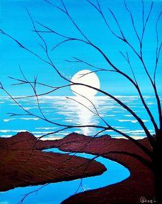 "Kyle Brock; Acrylic, 2013, Painting """"MoonShadows"""""