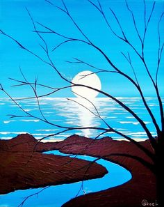 "Kyle Brock; Acrylic, 2013, Painting """"MoonShadows"""""