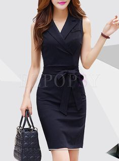 Black Short Sleeve Double-breasted Bodycon Dress Black dress with a short sleeve with two breasts Classy Work Outfits, Classy Dress, Simple Outfits, Business Casual Dress Code, Business Dresses, Business Attire, Bodycon Dress With Sleeves, Mode Chic, Professional Outfits