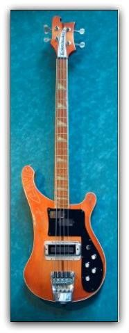 """This classic Rickenbacker 4001 was the instrument of choice for Nikki Sixx, the main man of Motley Crue. Its """"Amberglo"""" finish is an uncommon paint scheme.  At Hard Rock Cafe Mumbai."""