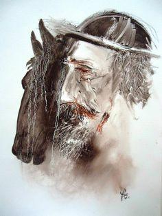 Quijote y Rocinante¨ De la serie Quijotes de Ricardo Perez Alcala.Dibujo en oleo s. papel