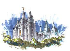 Salt Lake City Temple by SketchesbyScott on Etsy, $25.00