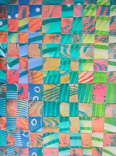 GELLI PRINTED PAPER WEAVING! Select two Gelli prints that complement each other. This piece is made from a viscosity print and a comb-patterned print, woven together. These demonstrations are bonus projects from Gelli Plate Printing by Joan Bess, copyright 2014 - See more at: http://www.createmixedmedia.com/make/gelli-plate-printing-extras-part-2#sthash.tqoYHj70.020c4wZi.dpuf