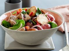 Warm Sausage and Roasted Red Potato Salad : Recipes : Cooking Channel Healthy Snacks, Healthy Eating, Healthy Recipes, Lunch Recipes, Summer Recipes, Southern Style Potato Salad, Potato Pasta, Potato Dishes, Turkey Sausage