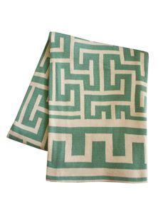 High Street Market - Greek Key Throw Blanket, Aqua