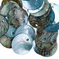 Drop, mussel shell (dyed / coated), grey, flat round, Mohs hardness Sold per pkg of Natural Curves, Mussels, Blue Beads, Top Grigio, Pearl White, Shells, Drop, Flat, Etsy