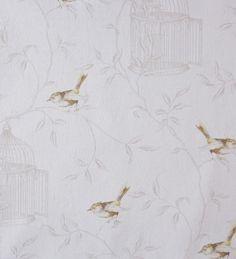 papel pintado romntico con gorriones amarillos y jaulas marrn grisceo