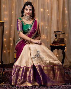 Shop Stunning Half Sarees Here! Lehenga Saree Design, Half Saree Lehenga, Lehnga Dress, Saree Look, Lehenga Designs, Gown Dress, Bridal Lehenga, Kids Lehenga, Lehenga Blouse