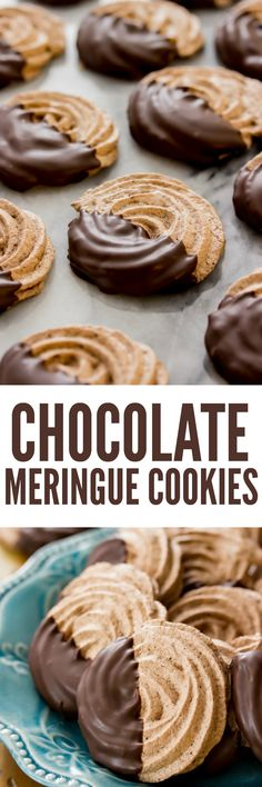 These crisp, flawless chocolate meringue cookies are only 6 ingredients! They're flavored with cocoa powder for a rich chocolate taste and are dipped in melted dark chocolate! Delicious Cookie Recipes, Sweets Recipes, Yummy Cookies, Candy Recipes, Yummy Food, Passover Desserts, No Cook Desserts, Just Desserts, Chocolate Meringue Cookies