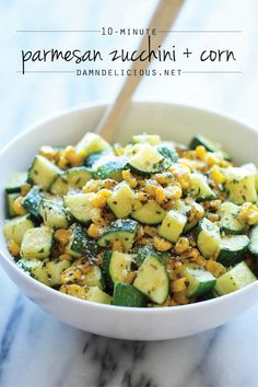 Parmesan Zucchini and Corn - A healthy 10 minute side dish to dress up any meal. It's so simple yet full of flavor! @damndelicious