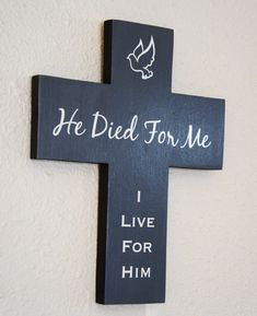 He Died for Me I live for him Slate Grey Gray #cross  by #Frameyourstory, $39.95