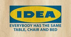 Ikea company name, claim and logo in communism