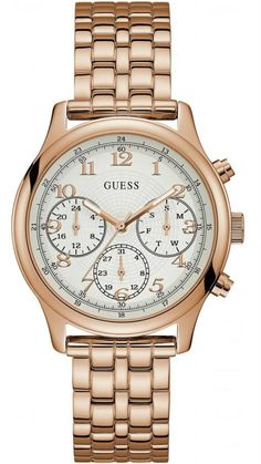 Rose Gold-Tone Multifunction Watch at Guess Gold Watch, Stainless Steel Bracelet, Rolex Watches, Bracelet Watch, Jewelry Watches, Rose Gold, Bracelets, Accessories, Ebay