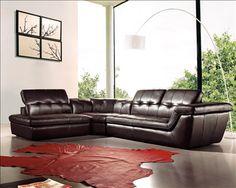 J & M Premium Italian Leather Sectional Sofa in Chocolate Brown $4295