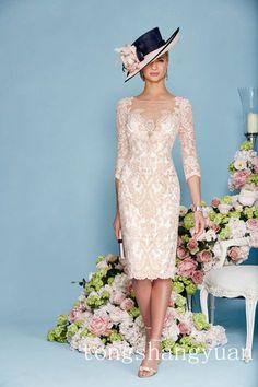 Vestido de encaje Rosa de lujo con cuentas de gasa de la Madre De Novia Chaqueta Abrigo hasta la rodilla