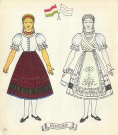 Jolis Costumes: Album a Decouper, Composer, Colorier / eurocolor Hungary Paper Doll Costume, Costumes Around The World, World Thinking Day, Hungarian Embroidery, Vintage Paper Dolls, Retro Toys, Art Pages, French Vintage, Graphics Vintage