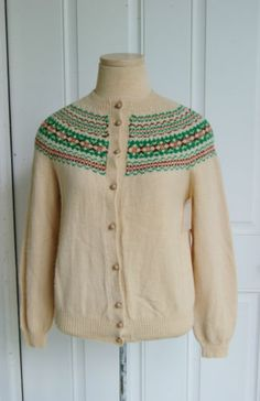 Vintage 1950's Beige Knit Norwegian Cardigan Sweater - Size S/M