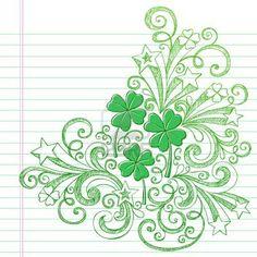 Four Leaf Clover St Patricks Day Sketchy Doodle Shamrocks Back to School Style Sketchy Notebook Doodles Illustration Design Elements on Lined Sketchbook Paper Background Stock Photo
