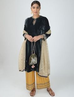 Black Silk Velvet Kurta with Embroidered Sleeves Kurti Neck Designs, Dress Neck Designs, Velvet Suit Design, Black Silk, Designer Dresses, Kimono Top, Sleeves, How To Wear, Stuff To Buy