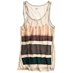 Madewell Silk Stripe Tank ($48) ❤ liked on Polyvore featuring tops, shirts, tank tops, tanks, women, striped tank top, stripe top, silk tank, panel shirt and shirts & tops
