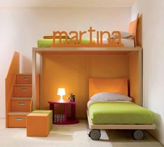 kid bedrooms with bed, storage, play area and their name.