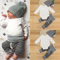 795e57affee Newborn Infant Baby Boy Girl Romper Tops + Striped Pants+Hat Clothes 3pcs  Set