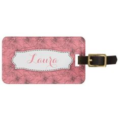 Pink floral lilly pilly pattern name luggage tag. Art and design by www.sarahtrett.com