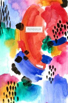 watercolors #textiledesign \\ Estampado - pattern by moniquilla. - www.moniquilla.com