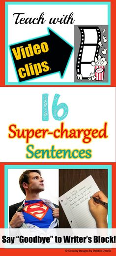 Are your students suffering from Writer's Block?  Teach them 16 ways of structuring sentences so that they never have trouble finding the words. Using kid-friendly VIDEO CLIPS for inspiration makes this tons of FUN.  If you think that 16 is too many for your students right now, there is a shorter version of 6 available.  Check it out!  https://www.teacherspayteachers.com/Product/Six-Super-Sentence-Structures-Spice-Up-Boring-Essays-Research-Writing-7-8-9-10-2154098