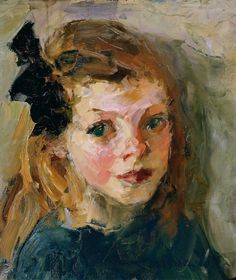 Portrait of a Girl with a Black Bow, Joseph Raphael. American Impressionist Painter (1869 - 1950)