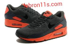 Aug 2013 Shoes Premium Nike Air Max 90 EM Mens Sport Red Carbon Grey Black