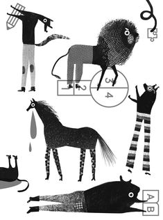 "Aleksandra Nniepsuj, ""How smart are animals?"" editorial illustration for maleman magazine (9/30 