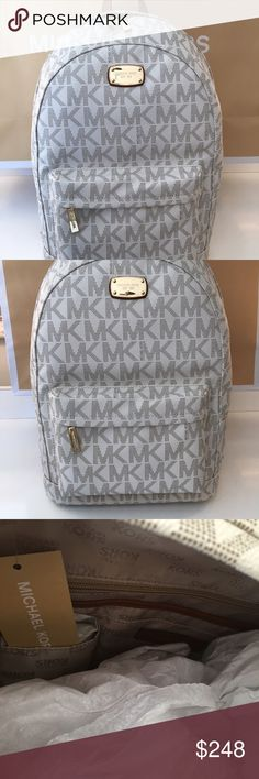 MICHAEL KORS NEW VANILLA BACKPACK 100% AUTHENTIC MICHAEL KORS NEW NEVER USED WITH TAGS VANILLA BACKPACK. PERFECT TO GIVE STYLE AND HIGH FASHION TO ANY PERSON ON THE GO.  ON TREND AND AMAZING.  THIS BAG MEASURES 11.5 INCHES WIDE BY 16 INCHES TALL AND 7 INCHES DEEP Michael Kors Bags Backpacks